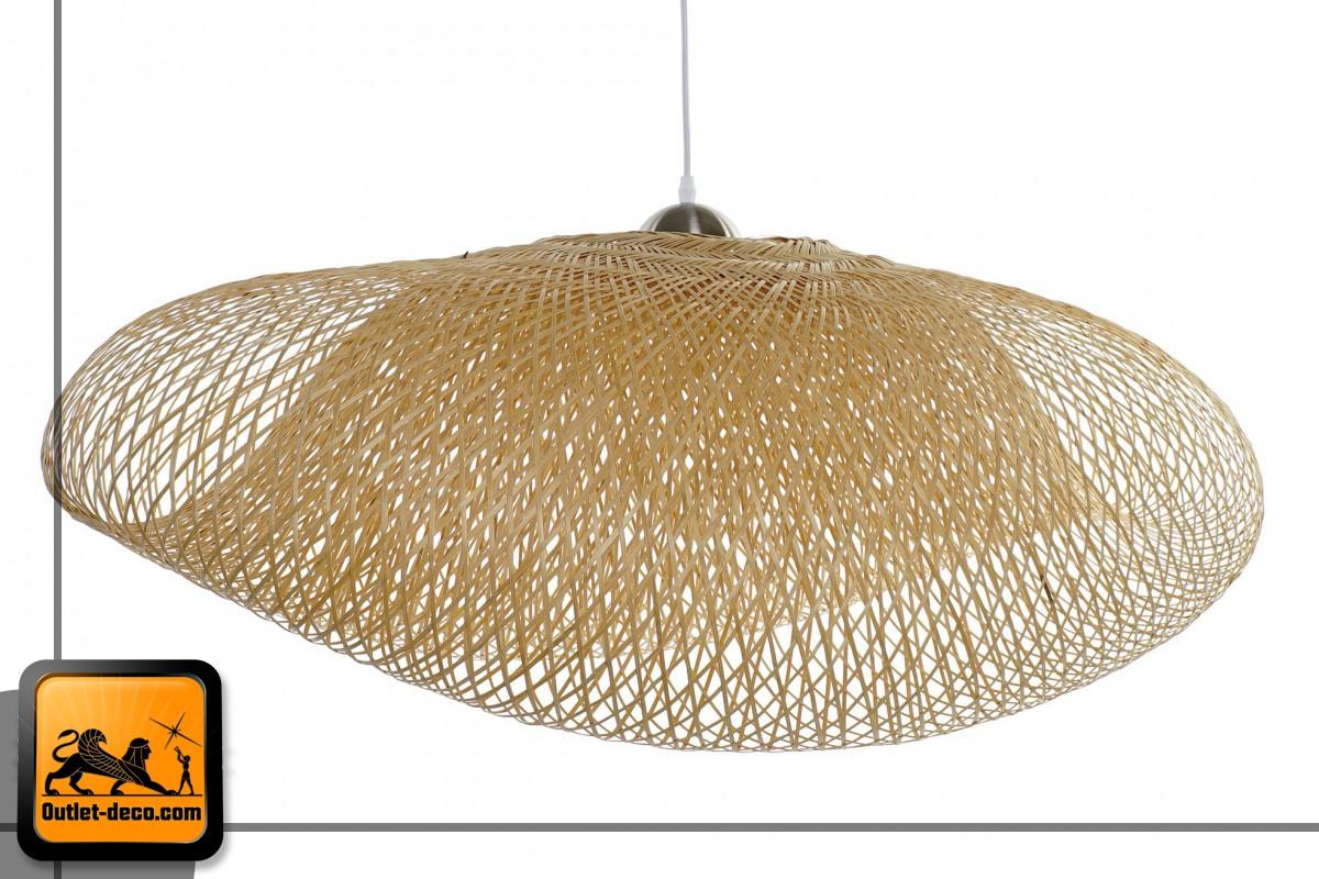 LAMPARA TECHO BAMBU 105X80X45 DOBLE NATURAL