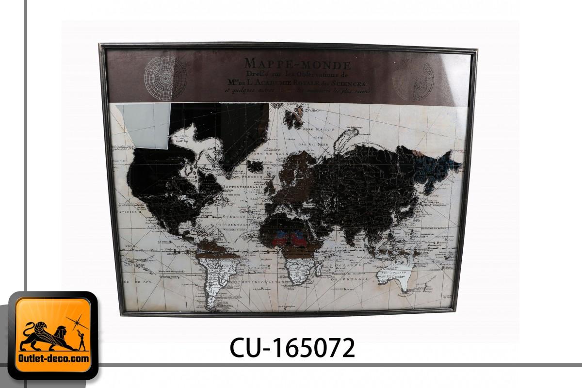 CUADRO METAL CRISTAL 121,5X3X93 MAPAMUNDI