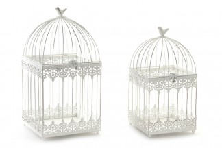 JAULA SET 2 METAL 23X23X46 1,9 PAJARO BLANCO