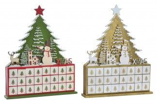 CALENDARIO ADVIENTO LED 32,5X6X40,5 ARBOL 2 SURT.