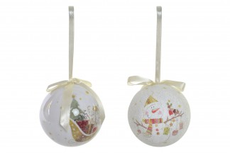 BOLA DECORACION SET 14 PVC 7,5X7,5 ARBOL BLANCO