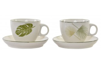 TAZA SET PLATO NEW BONE 13,8X7,5 200ML HOJA 2 SURT