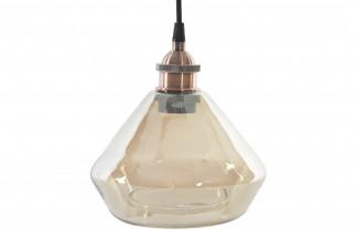 LAMPARA TECHO CRISTAL METAL 16X16X29 AHUMADO AMBAR