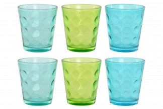 VASO SET 6 CRISTAL 9X9X10 360 ML. RELIEVE 3 SURT.