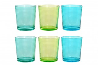 VASO SET 6 CRISTAL 8,8X8,8X10 420 ML. 3 SURT.