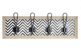 PERCHERO PARED MADERA METAL 48,5X7X15 IKAT NATURAL