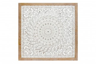 DECORACION PARED MDF 122X4X122 13 MANDALA BLANCO