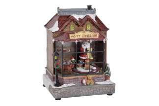 DECORACION LUMINOSA LED RESINA 17X15X23 PAPA NOEL