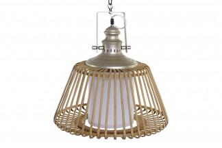 LAMPARA TECHO BAMBU PVC 43X43X44 NATURAL