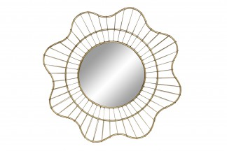 DECORACION PARED METAL CRISTAL 60X8X60 FLOR DORADO