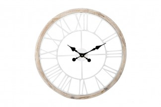 RELOJ PARED MADERA METAL 60X5 BLANCO