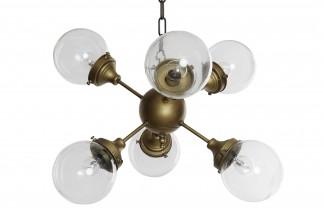 LAMPARA TECHO METAL CRISTAL 62X62X125 SATELITE