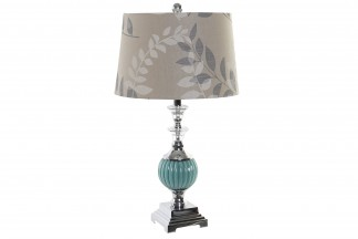 LAMPARA SOBREMESA CRISTAL 35X35X62 1,8 KG. FLORES