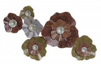 DECORACION PARED METAL 115X9X67 FLORES CORAL