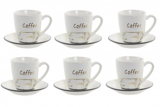 CAFE SET 6 GRES METAL 17X13X35 90 BLANCO