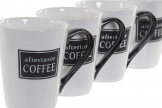 MUG SET 4 GRES METAL 12,5X8,5X10,5 300ML NEGRO