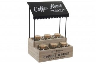 ESPECIERO SET 6 MADERA METAL 20X14X28 0,48 COFFEE