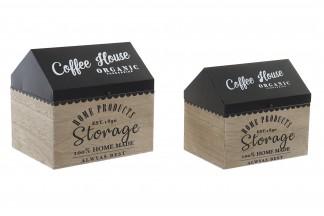 CAJA SET 2 MADERA METAL 22X17,5X21 1,45 COFFEE