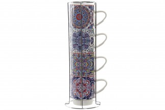 CAFE SET 4 PORCELANA 14X12,5X35 400 ML. MANDALA
