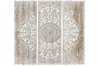 DECORACION PARED SET 3 MADERA 120X3X120 MANDALA
