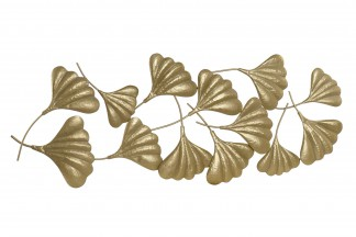 DECORACION PARED METAL 133X3X58 HOJAS DORADO