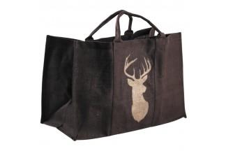 Bolsa de registro de yute de plástico marrón con ciervo