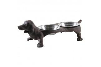 Cuenco doble de hierro fundido para perros