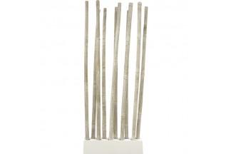 Base + 10 tallos de bambú patinado blanco