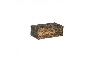 Caja de pañuelos antiguos de ratán