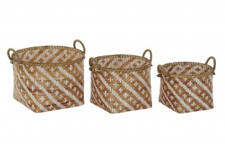 CESTA SET 3 BAMBU 45X44X39 MARRON