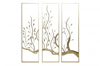 DECORACION PARED SET 3 METAL 33X3X120 ARBOL DORADO