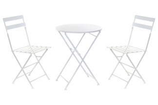 MESA SET 3 METAL 60X60X70 PLEGABLE BLANCO