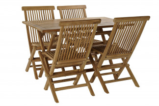 MESA SET 5 TECA 120X70X75 4 SILLAS NATURAL