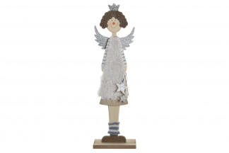 FIGURA MADERA POLIESTER 15X7X50 ANGEL GRIS