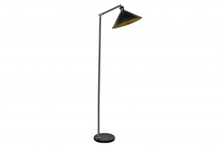 LAMPARA PIE METAL MARMOL 30X30X165 NEGRO
