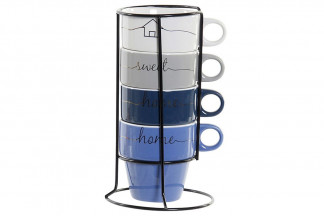MUG SET 4 NEW BONE 11,5X11,5X20 360 ML. HOME AZUL