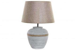 LAMPARA SOBREMESA CEMENTO LINO 45X62,5 GRIS