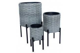 MACETERO SET 3 PVC METAL 36X60 GRIS