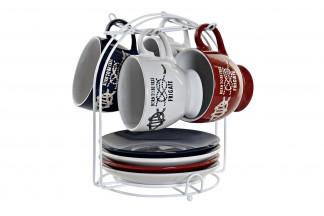 CAFE SET 4 GRES METAL 17X17X20,5 210 2 SURT.