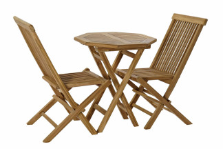 TABLE SET 3 TECK 60X60X75 2 CHAISES NATUREL
