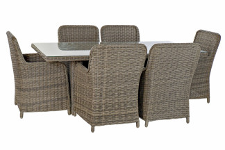 TABLE SET 7 ROTIN SYNTHÉTIQUE 200X100X75 5 MM, EXT