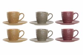 CAFE SET SET 6 GRES 9,5X6,7X6 90 ML. 3 SURT.
