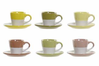 CAFE SET SET 6 GRES 8,5X6X5,5 90 ML, 6 SURT.
