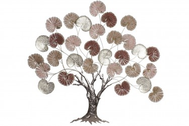 DECORACION METAL 117X7X107 ARBOL ROSA